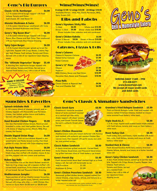 Geno's Carry Out Menu